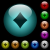 Diamond card symbol icons in color illuminated glass buttons - Diamond card symbol icons in color illuminated spherical glass buttons on black background. Can be used to black or dark templates