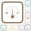 Fuel indicator simple icons in color rounded square frames on white background - Fuel indicator simple icons