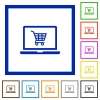 Webshop flat framed icons - Webshop flat color icons in square frames on white background