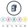 Ink cartridge flat color icons in round outlines - Ink cartridge flat color icons in round outlines. 6 bonus icons included.