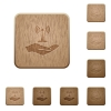 Sharing wireless network wooden buttons - Sharing wireless network on rounded square carved wooden button styles