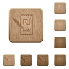 Signing new Shekel cheque on rounded square carved wooden button styles - Signing new Shekel cheque wooden buttons