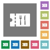 Dinner discount coupon square flat icons - Dinner discount coupon flat icons on simple color square backgrounds