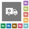 Fast delivery truck square flat icons - Fast delivery truck flat icons on simple color square backgrounds