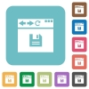 Browser save rounded square flat icons - Browser save white flat icons on color rounded square backgrounds