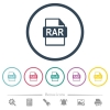 RAR file format flat color icons in round outlines - RAR file format flat color icons in round outlines. 6 bonus icons included.