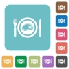 Steak for lunch rounded square flat icons - Steak for lunch white flat icons on color rounded square backgrounds