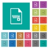 Zipped document square flat multi colored icons - Zipped document multi colored flat icons on plain square backgrounds. Included white and darker icon variations for hover or active effects.