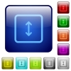 Adjust object height color square buttons - Adjust object height icons in rounded square color glossy button set