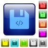 Script file color square buttons - Script file icons in rounded square color glossy button set