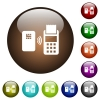 Contactless payment color glass buttons - Contactless payment white icons on round color glass buttons