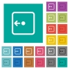 Move object left square flat multi colored icons - Move object left multi colored flat icons on plain square backgrounds. Included white and darker icon variations for hover or active effects.