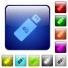 Fourth generation mobile stick color square buttons - Fourth generation mobile stick icons in rounded square color glossy button set