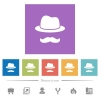 Incognito with mustache flat white icons in square backgrounds - Incognito with mustache flat white icons in square backgrounds. 6 bonus icons included.