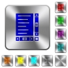 Document with content and scroll bars engraved icons on rounded square glossy steel buttons - Document with content and scroll bars rounded square steel buttons
