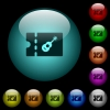 Instrument shop discount coupon icons in color illuminated glass buttons - Instrument shop discount coupon icons in color illuminated spherical glass buttons on black background. Can be used to black or dark templates