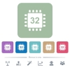 Microprocessor 32 bit architecture flat icons on color rounded square backgrounds - Microprocessor 32 bit architecture white flat icons on color rounded square backgrounds. 6 bonus icons included