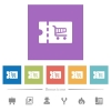 Cart discount coupon flat white icons in square backgrounds - Cart discount coupon flat white icons in square backgrounds. 6 bonus icons included.