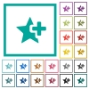 Add star flat color icons with quadrant frames - Add star flat color icons with quadrant frames on white background