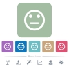 Neutral emoticon white flat icons on color rounded square backgrounds. 6 bonus icons included - Neutral emoticon flat icons on color rounded square backgrounds
