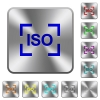 Camera iso speed setting engraved icons on rounded square glossy steel buttons - Camera iso speed setting rounded square steel buttons