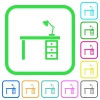 Desk with lamp vivid colored flat icons - Desk with lamp vivid colored flat icons in curved borders on white background