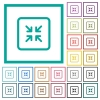 Shrink object flat color icons with quadrant frames - Shrink object flat color icons with quadrant frames on white background