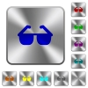 Sunglasses rounded square steel buttons - Sunglasses engraved icons on rounded square glossy steel buttons