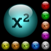 Math exponentiation icons in color illuminated spherical glass buttons on black background. Can be used to black or dark templates - Math exponentiation icons in color illuminated glass buttons