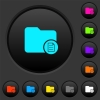 Directory properties dark push buttons with color icons - Directory properties dark push buttons with vivid color icons on dark grey background