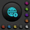 Online Bitcoin payment dark push buttons with color icons - Online Bitcoin payment dark push buttons with vivid color icons on dark grey background