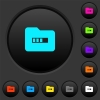Processing folder dark push buttons with color icons - Processing folder dark push buttons with vivid color icons on dark grey background
