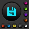 Zipped file dark push buttons with color icons - Zipped file dark push buttons with vivid color icons on dark grey background