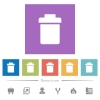 Single trash flat white icons in square backgrounds - Single trash flat white icons in square backgrounds. 6 bonus icons included.