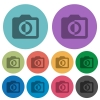 Monochrome photos color darker flat icons - Monochrome photos darker flat icons on color round background