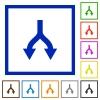 Split arrows down flat framed icons - Split arrows down flat color icons in square frames on white background