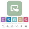 Export symbol with bottom right arrow white flat icons on color rounded square backgrounds. 6 bonus icons included - Export symbol with bottom right arrow flat icons on color rounded square backgrounds