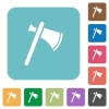 Single tomahawk rounded square flat icons - Single tomahawk white flat icons on color rounded square backgrounds