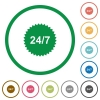 24 hours seven sticker flat icons with outlines - 24 hours seven sticker flat color icons in round outlines on white background