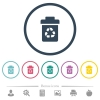 Recycle bin flat color icons in round outlines - Recycle bin flat color icons in round outlines. 6 bonus icons included.