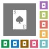 Three of spades card square flat icons - Three of spades card flat icons on simple color square backgrounds