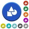 Basic geometric shapes beveled buttons - Basic geometric shapes round color beveled buttons with smooth surfaces and flat white icons