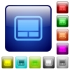 Laptop touchpad color square buttons - Laptop touchpad icons in rounded square color glossy button set