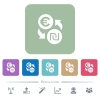 Euro new Shekel money exchange flat icons on color rounded square backgrounds - Euro new Shekel money exchange white flat icons on color rounded square backgrounds. 6 bonus icons included