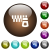 Horizontal zipper color glass buttons - Horizontal zipper white icons on round color glass buttons