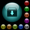Archive icons in color illuminated glass buttons - Archive icons in color illuminated spherical glass buttons on black background. Can be used to black or dark templates