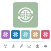 International flat icons on color rounded square backgrounds - International white flat icons on color rounded square backgrounds. 6 bonus icons included