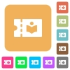 Library discount coupon rounded square flat icons - Library discount coupon flat icons on rounded square vivid color backgrounds.