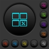 Dashboard tools dark push buttons with color icons - Dashboard tools dark push buttons with vivid color icons on dark grey background