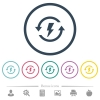 Renewable energy flat color icons in round outlines - Renewable energy flat color icons in round outlines. 6 bonus icons included.